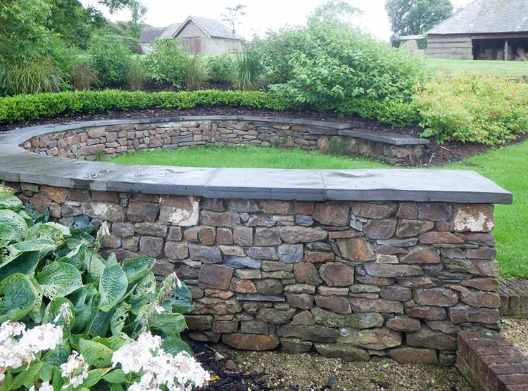 Devon Dry Stone Rubble Walling with Pennant Coping